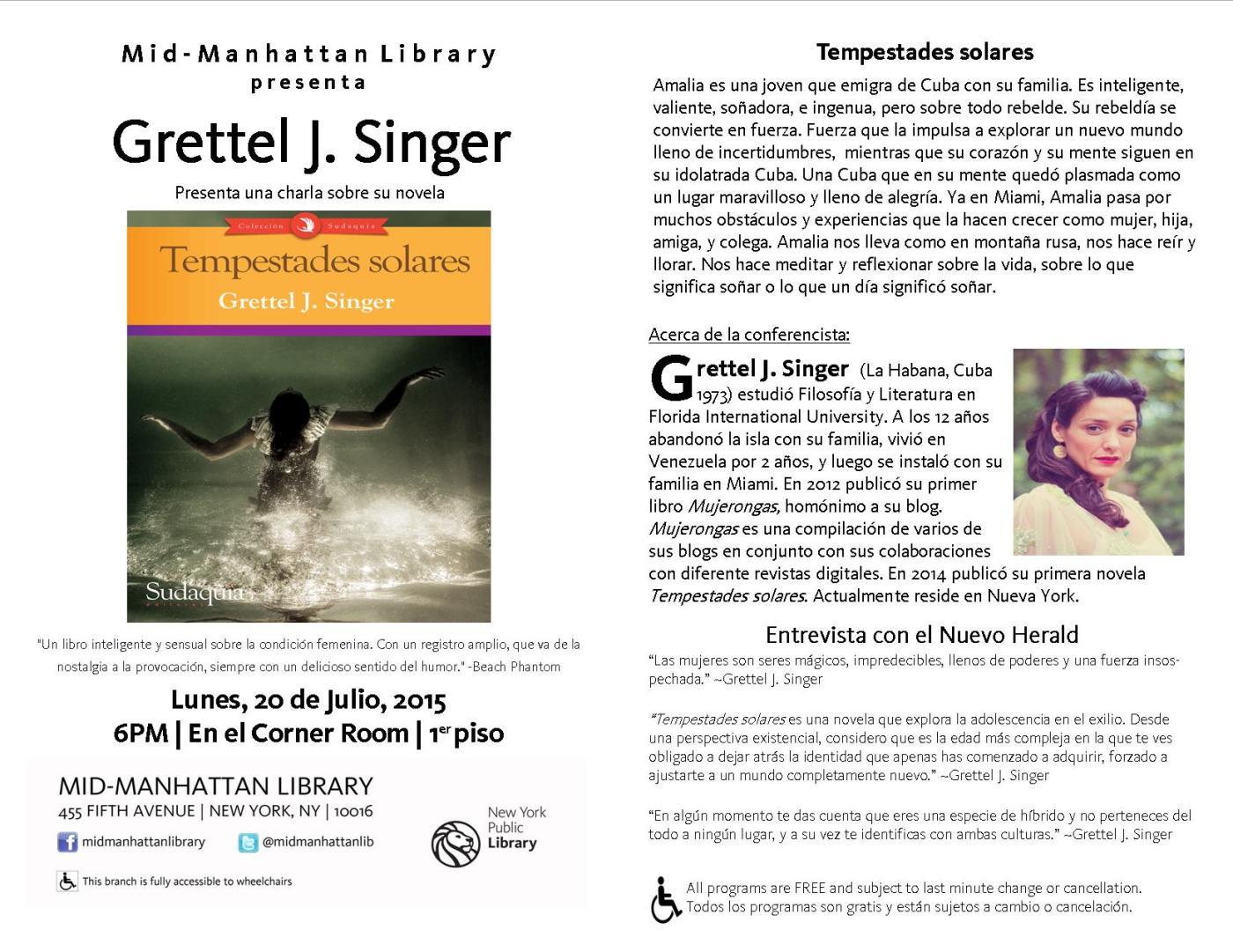 Grettel J. Singer ofrece charla sobre su novela ¨Tempestades solares¨ | Project Zu