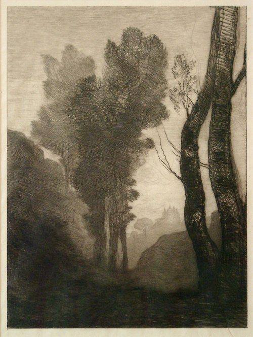 Grabado de Gustave Corot