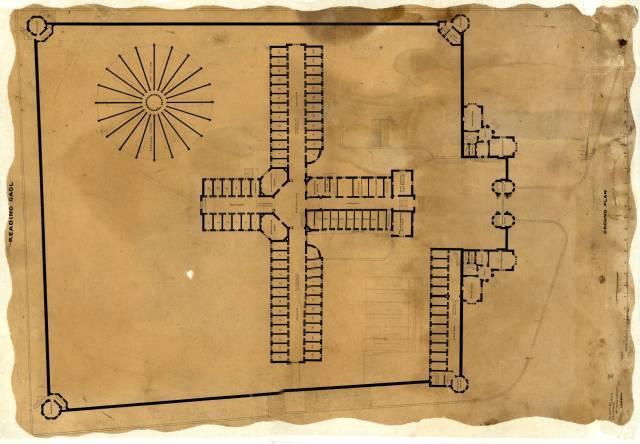 Plano de la prisión de Reading, dibujado en la oficina de los arquitectos George Gilbert Scott y William Bonython Moffatt cerca de 1842. BERKSHIRE RECORD OFFICE ARTANGEL/BOLTON & QUINN)