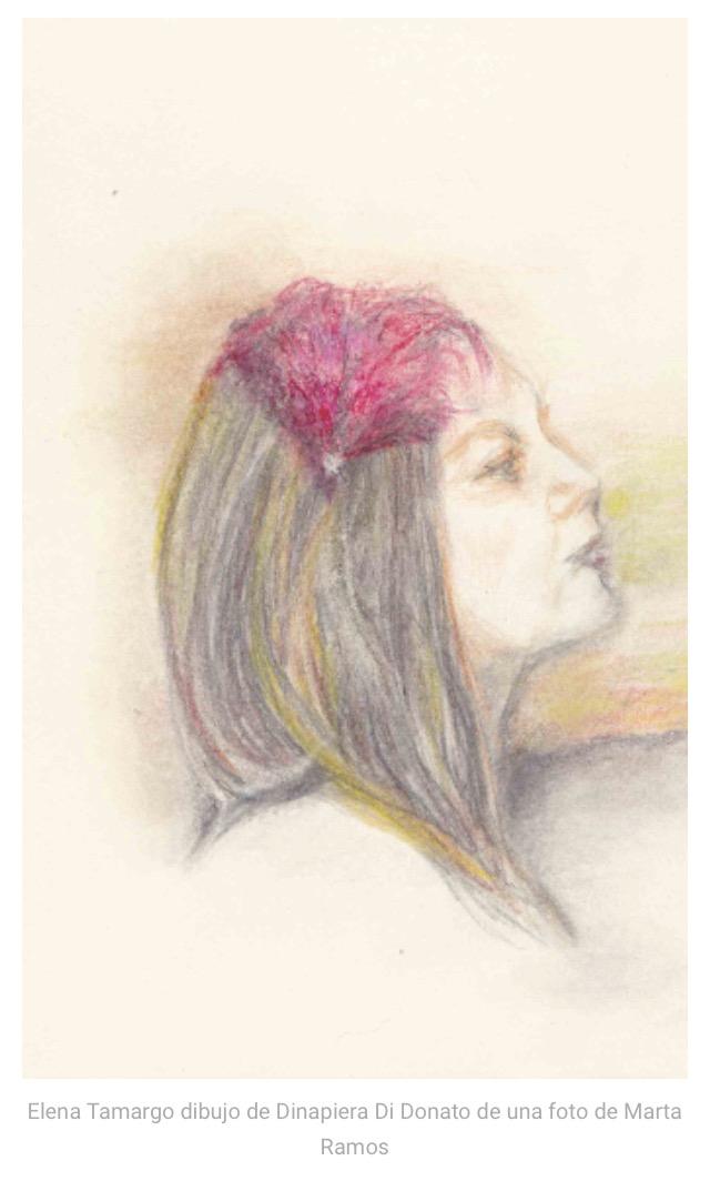 Dibujo de Dinapiera Di Donato de una foto de Marta Ramos